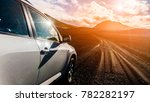 off road jeep car on bad gravel ...   Shutterstock . vector #782282197