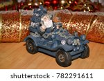 santa claus on the car carries... | Shutterstock . vector #782291611