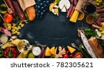 assorted cheeses  sausages ... | Shutterstock . vector #782305621