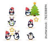 cute penguins. great christmas...   Shutterstock .eps vector #782308894