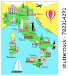 italy travel map with sights... | Shutterstock .eps vector #782314291