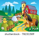 country scene with red barn 2   ... | Shutterstock .eps vector #78231589