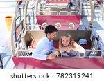 lovers couple of beautiful... | Shutterstock . vector #782319241