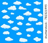 clouds set isolated on blue... | Shutterstock .eps vector #782321995