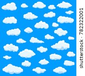 clouds set isolated on blue... | Shutterstock .eps vector #782322001