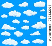 clouds set isolated on blue... | Shutterstock .eps vector #782322019