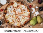 hot delicous pizza with pear...   Shutterstock . vector #782326027