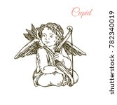 sitting cupid holding a bow.... | Shutterstock .eps vector #782340019