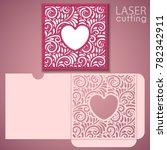 die laser cut wedding envelope... | Shutterstock .eps vector #782342911