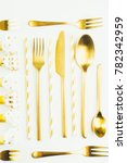 golden cutlery and party... | Shutterstock . vector #782342959