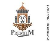 ancient citadel emblem.... | Shutterstock . vector #782344645