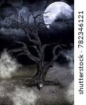 Dark Creepy Tree With A Full...