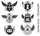 heraldic signs vintage elements.... | Shutterstock . vector #782346289