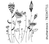 hand drawn sketch style floral... | Shutterstock .eps vector #782347711