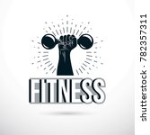 sport logo for weightlifting... | Shutterstock . vector #782357311