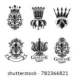 royal symbols lily flowers ... | Shutterstock . vector #782366821