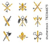 vintage weapon emblems set.... | Shutterstock . vector #782366875