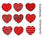 hand drawn heart shapes ... | Shutterstock .eps vector #782368954