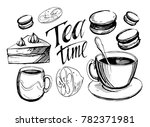 set of tea objects. hand drawn...   Shutterstock .eps vector #782371981