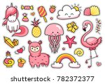 magic unicorn  alpaca ... | Shutterstock .eps vector #782372377