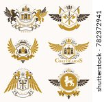set of vintage emblems created... | Shutterstock . vector #782372941
