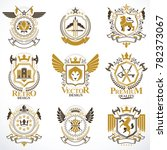 heraldic signs decorated with... | Shutterstock . vector #782373067