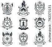 heraldic signs vintage elements.... | Shutterstock . vector #782373151