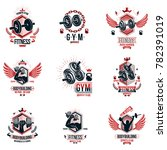 weightlifting theme logotypes... | Shutterstock . vector #782391019