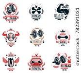 set of heavy load theme symbols ... | Shutterstock . vector #782391031