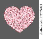 heart shape of japanese cherry... | Shutterstock .eps vector #782397871