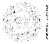 birthday party kindergarten...   Shutterstock .eps vector #782415835