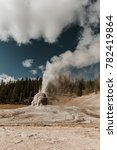 Lone Star Geyser erupts in Yellowstone National Park. Cone geyser geothermal volcanic activity erupting.