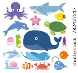 ocean animal fish whale crab... | Shutterstock .eps vector #782427217