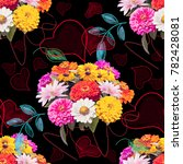 seamless floral pattern with... | Shutterstock . vector #782428081