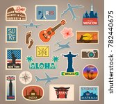 vector travel sticker and label ... | Shutterstock .eps vector #782440675