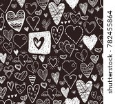 funny doodle hearts icons... | Shutterstock . vector #782455864