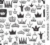 hand drawn various crowns set   ... | Shutterstock . vector #782457457