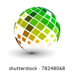Abstract 3d Vector Sphere With...