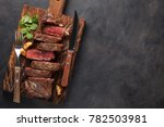 closeup ready to eat steak new... | Shutterstock . vector #782503981