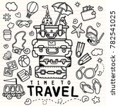 set of hand drawn travel doodle.... | Shutterstock .eps vector #782541025