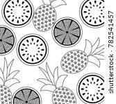orange pineapple and watermelon ... | Shutterstock .eps vector #782541457
