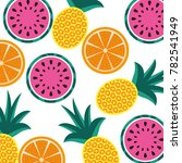 orange pineapple and watermelon ... | Shutterstock .eps vector #782541949