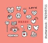 set of love tattoo hand drawn... | Shutterstock .eps vector #782545711