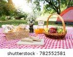 picnic bread croissant basket... | Shutterstock . vector #782552581