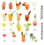 cocktail set  summer drinks | Shutterstock . vector #78255406