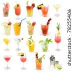 cocktail set  summer drinks   Shutterstock . vector #78255406