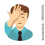 young man place hand on head.... | Shutterstock .eps vector #782554351