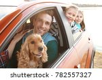 young father with cute children ... | Shutterstock . vector #782557327