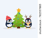 cute penguins and christmas... | Shutterstock .eps vector #782557885