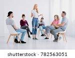 problematic girl standing... | Shutterstock . vector #782563051